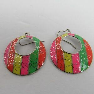 Jewelry - Sparkle Rainbow Earrings Pink Yellow Green Orange